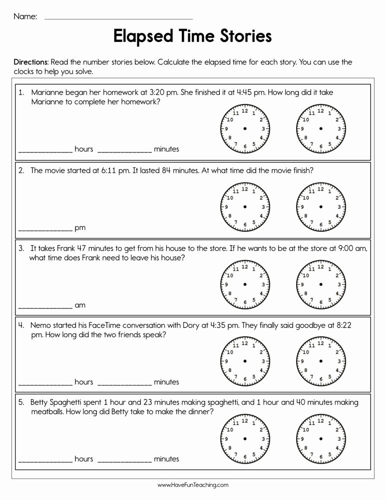 Elapsed Time 3rd Grade Worksheets top Elapsed Time Stories Worksheet