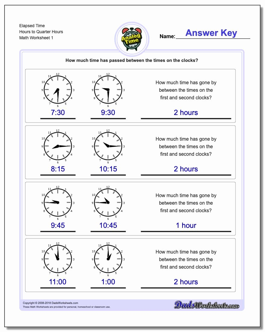 Elapsed Time Worksheets 3rd Grade Kids Analog Elapsed Time