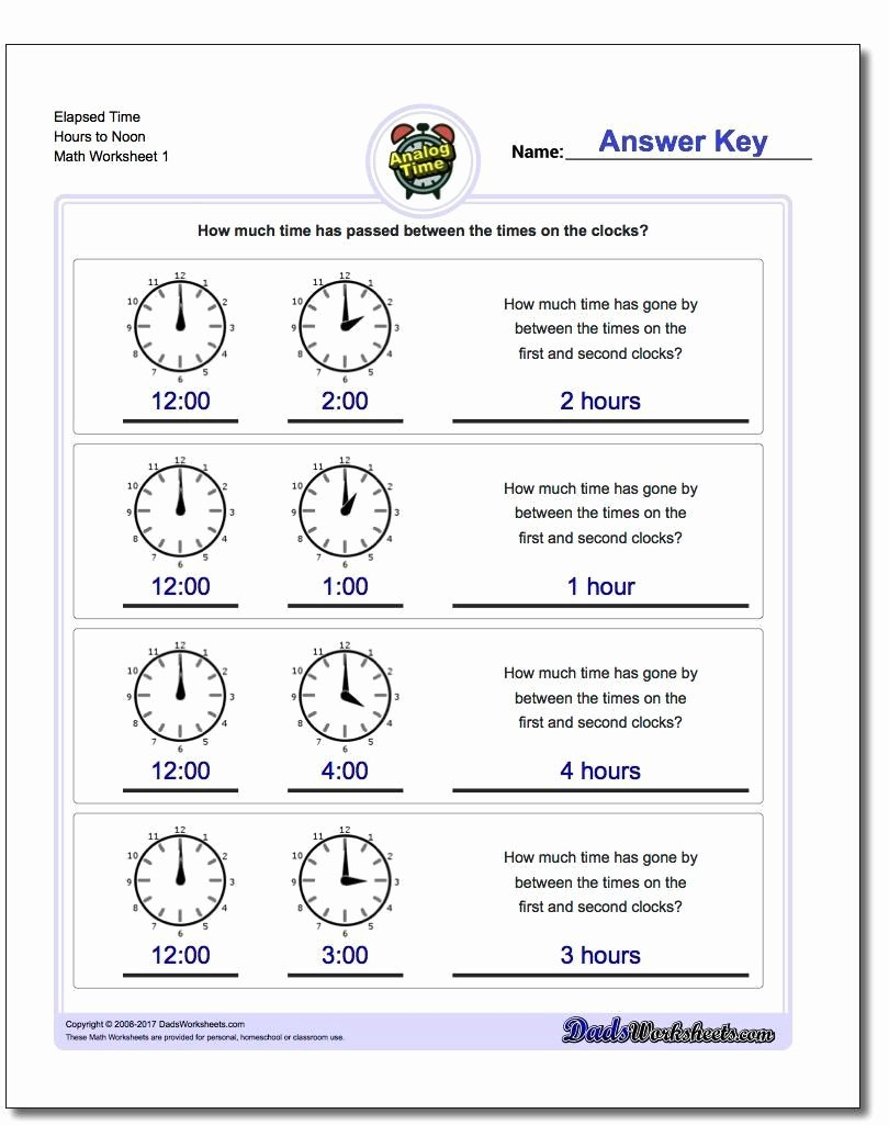 Elapsed Time Worksheets 3rd Grade Printable Elapsed Time Worksheets 3rd Grade Start From Full Hours