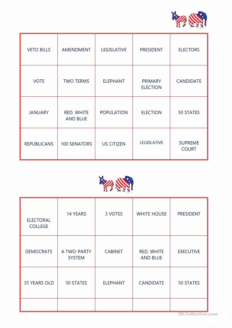 Election Worksheets for Elementary Students Ideas American Election Bingo English Esl Worksheets for
