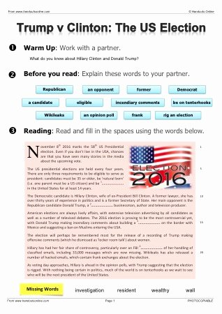 Election Worksheets for Elementary Students Inspirational Esl Political Worksheets On Us Presidential Election Trump