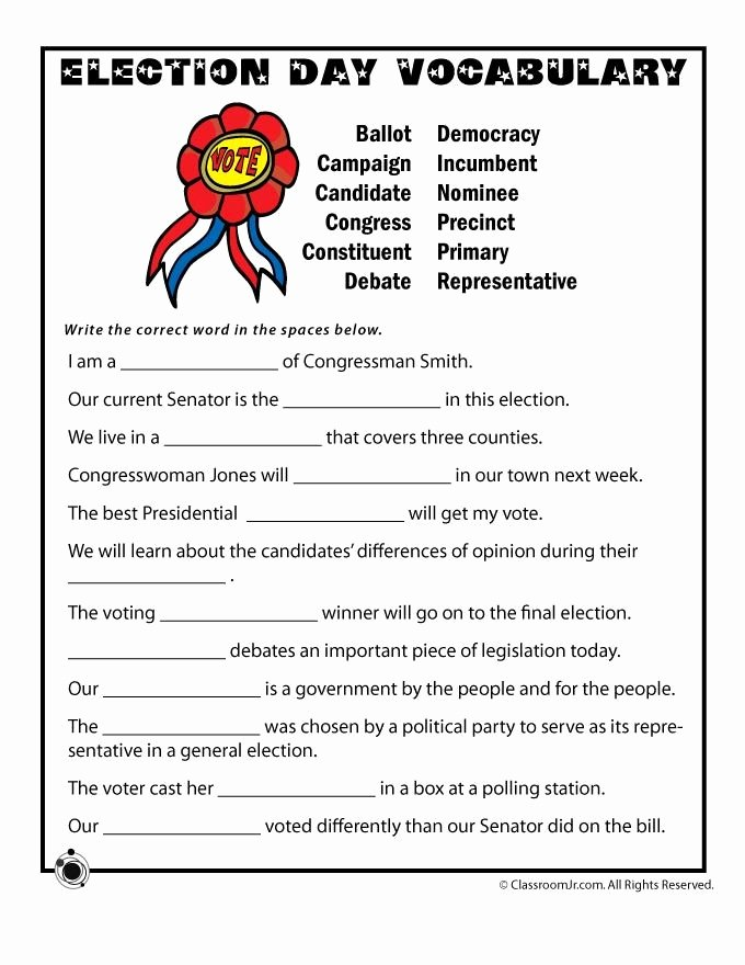 Election Worksheets for Elementary Students Lovely Election Day Vocabulary Worksheet Woo Jr Kids Activities