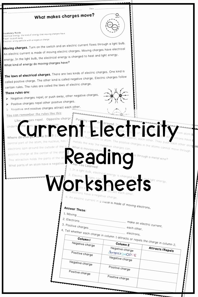 Electricity Worksheets for Middle School Inspirational Electricity Reading Activity