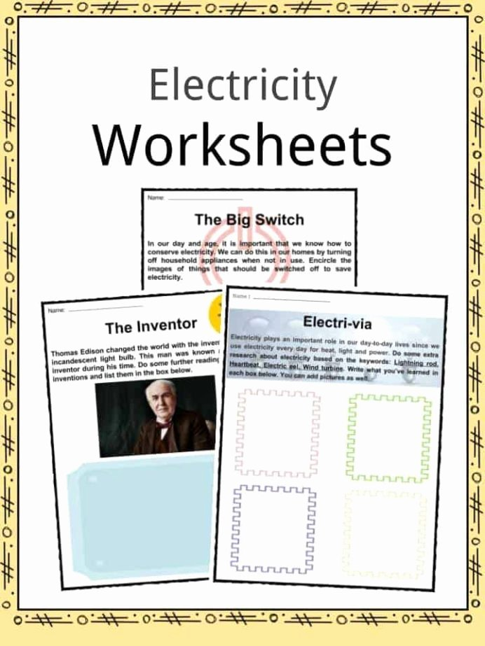 Electricity Worksheets for Middle School Kids Electricity Facts Worksheets Information for Kids Ks2