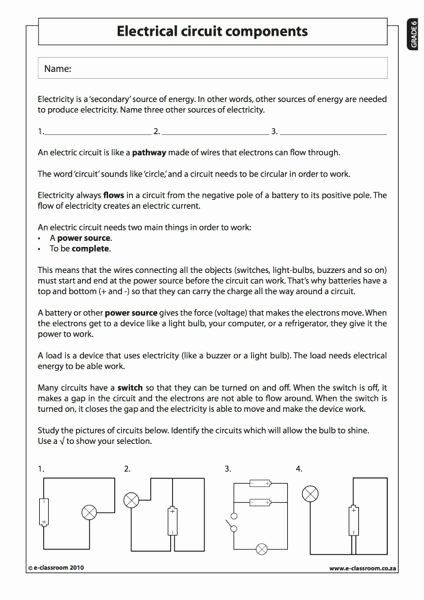 Electricity Worksheets for Middle School New Members Ly E Classroom