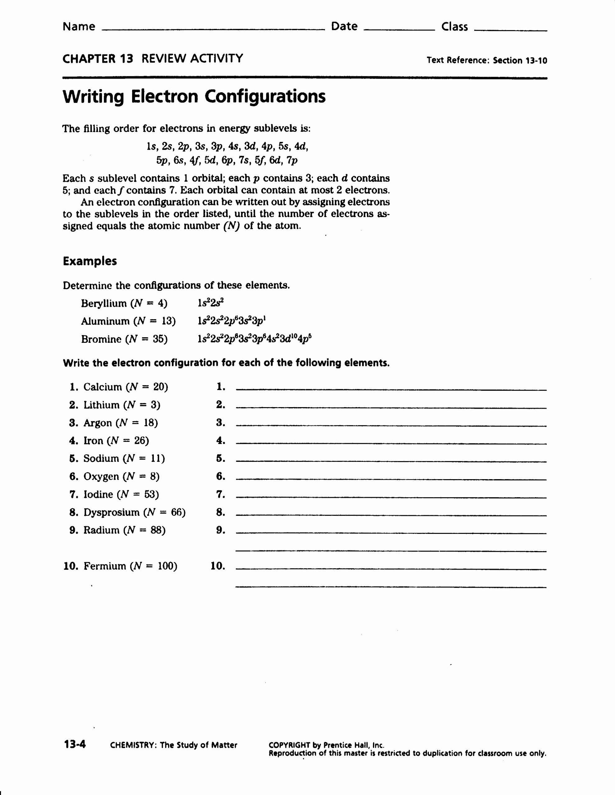 Electron Configuration Practice Worksheet Answers New Electron Configuration Worksheet Answers Part A Worksheets