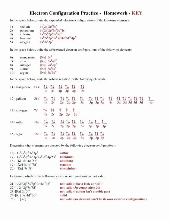 Electron Configuration Worksheet Answer Key Best Of Electron Configuration Worksheets – Dailycrazynews