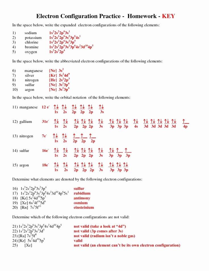 Electron Configuration Worksheet Answer Key Free Electron Configuration Practice Worksheet Answers