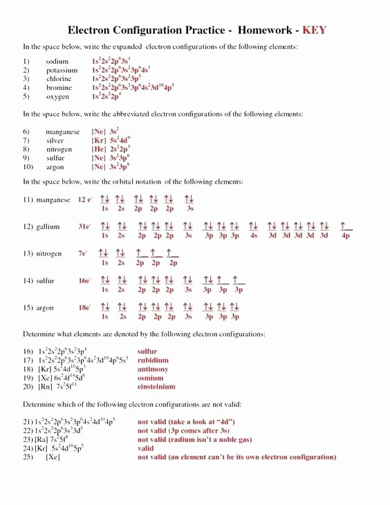 Electron Configuration Worksheet Answers Key Inspirational Electron Configuration Worksheets – Dailycrazynews