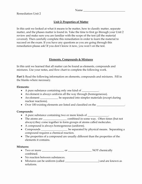 Elements Compounds Amp Mixtures Worksheet Kids Elements Pounds & Mixtures Worksheet Seabreeze High