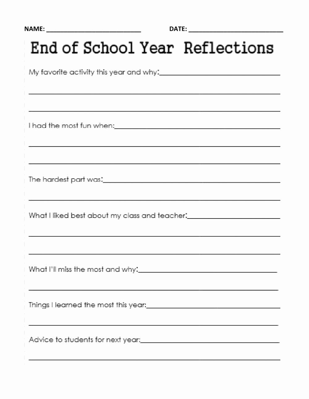 End Of School Year Worksheets New End Of Year School Reflection Interactive Worksheet