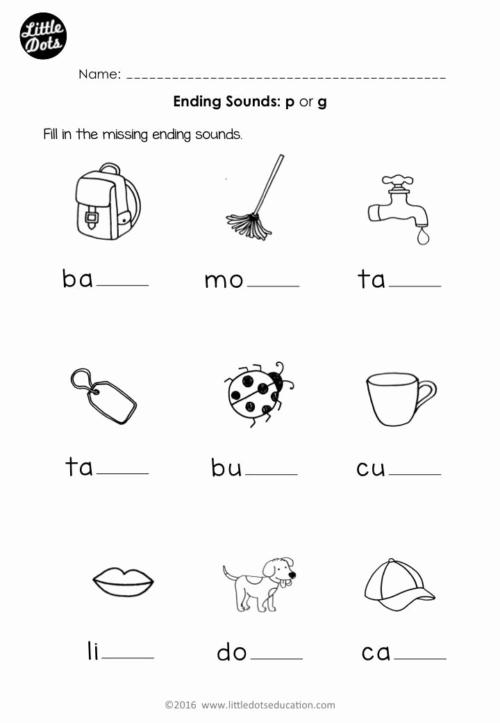 Ending sounds Worksheets for Kindergarten Fresh Free Preschool Phonics Ending sounds P and G Worksheet for