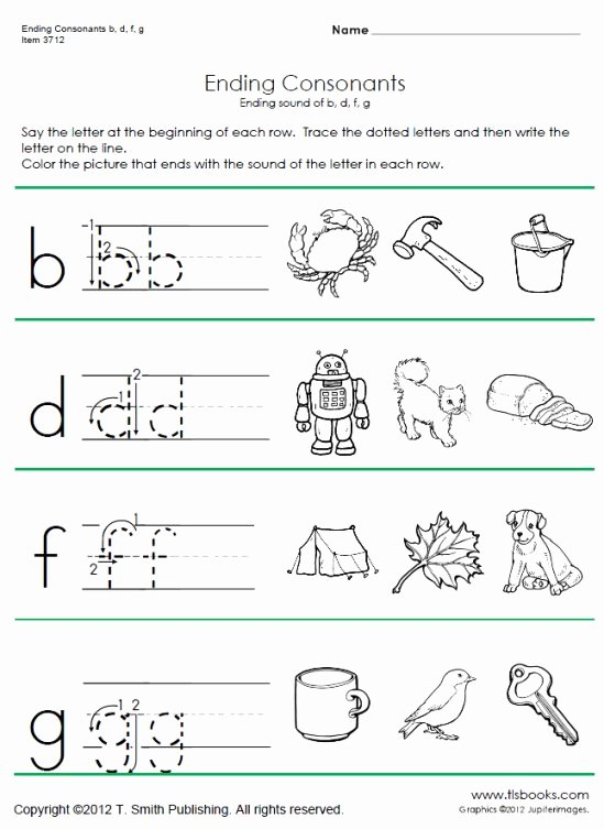 Ending sounds Worksheets for Kindergarten Inspirational Ending Consonant Phonics Worksheets