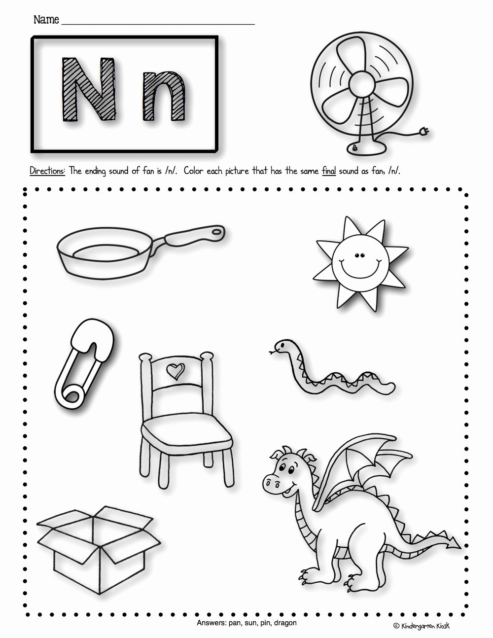 Ending sounds Worksheets for Kindergarten Kids Math Worksheet Phonics Prep Ending sounds Worksheets