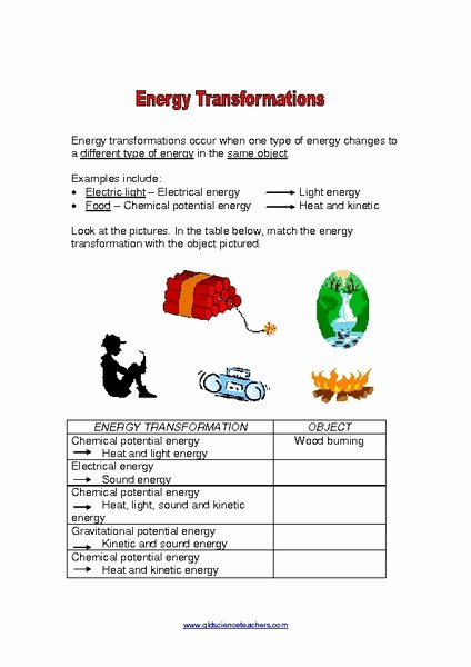 Energy Transformation Worksheet Answer Key Fresh Energy Transformations Activity Lessons Tes Teach