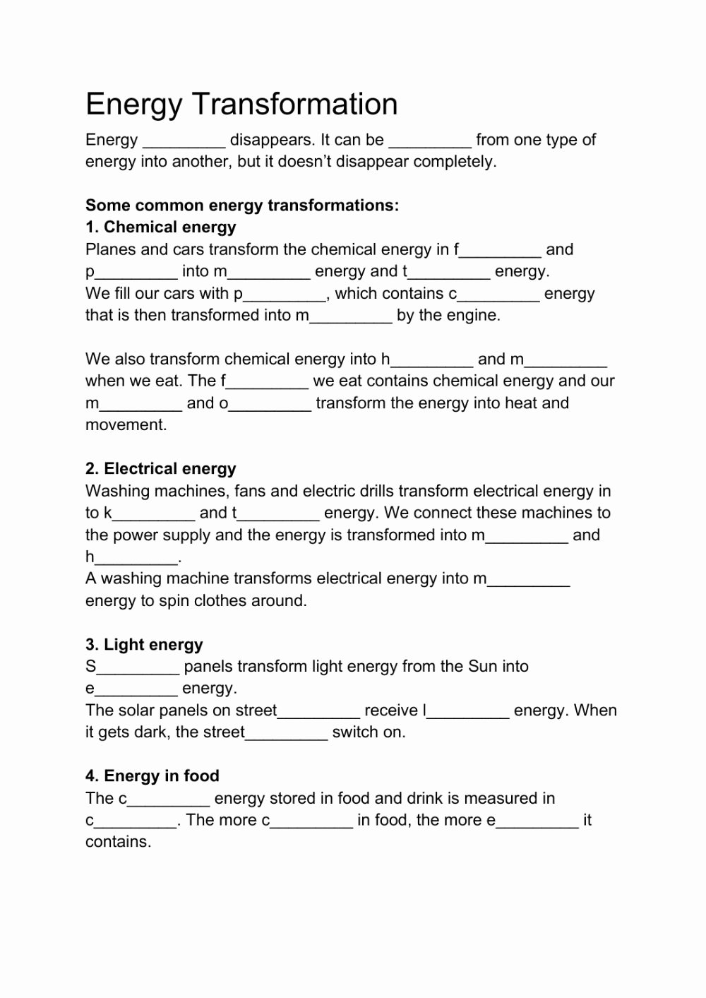 Energy Transformation Worksheet Answer Key Inspirational Energy Transformation Interactive Worksheet