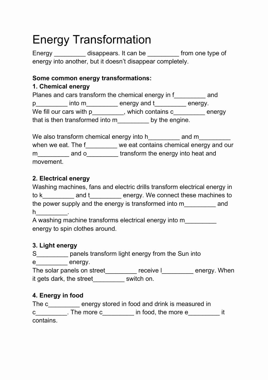 Energy Transformation Worksheet Answer Key Inspirational Energy Transformation Interactive Worksheet