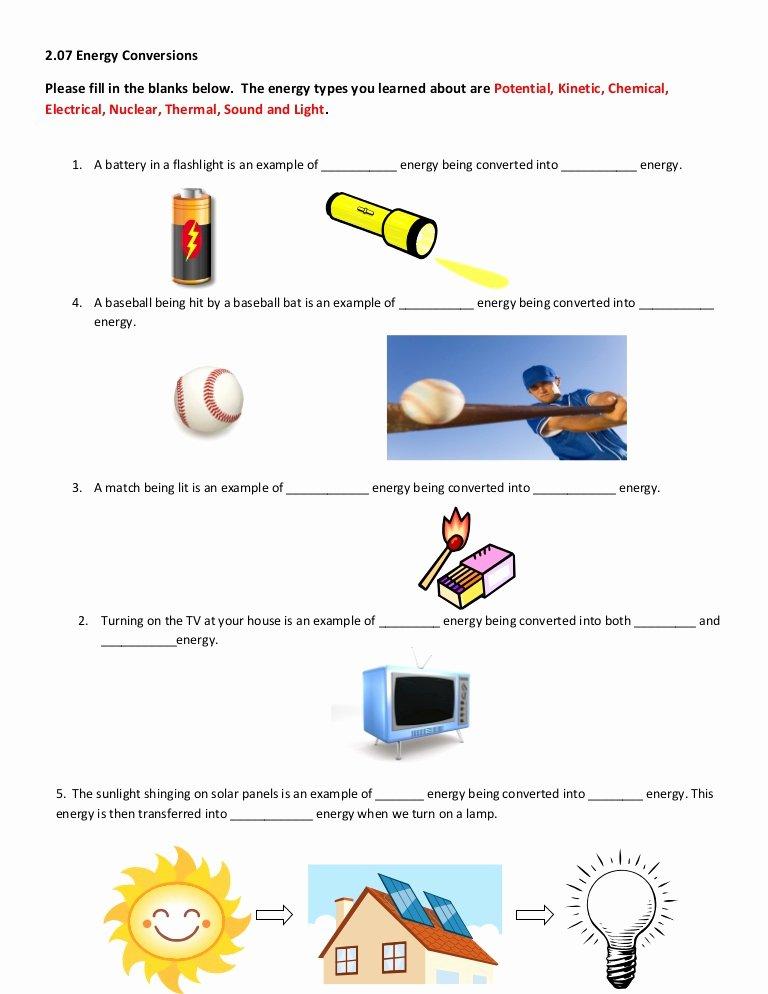 Energy Transformation Worksheet Answer Key Kids 2 07 Help Worksheet