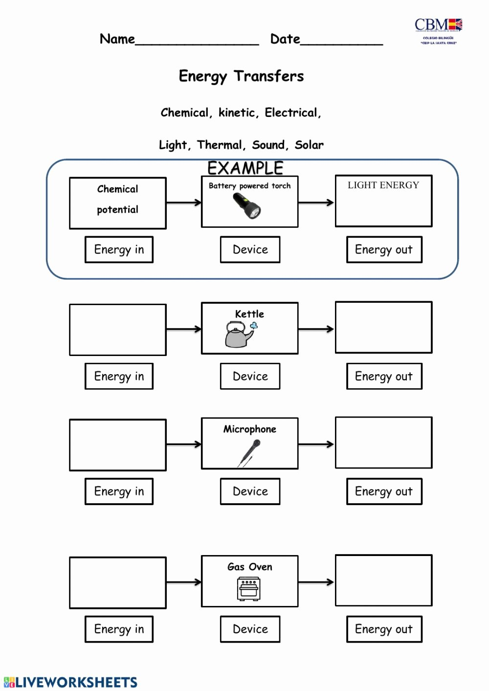 Energy Transformation Worksheet Answer Key New Energy Transformation Interactive Worksheet
