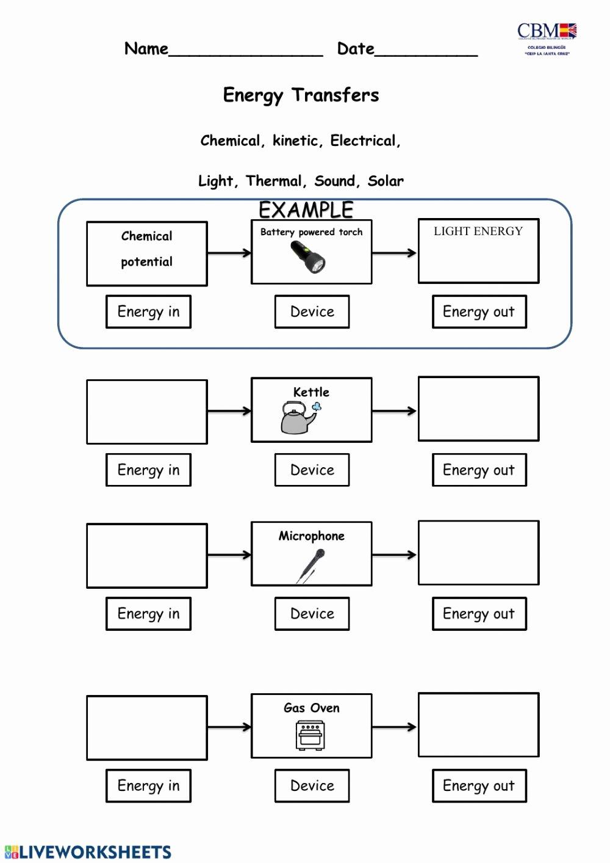 Energy Transformation Worksheet Answer Key New Energy Transformation Interactive Worksheet