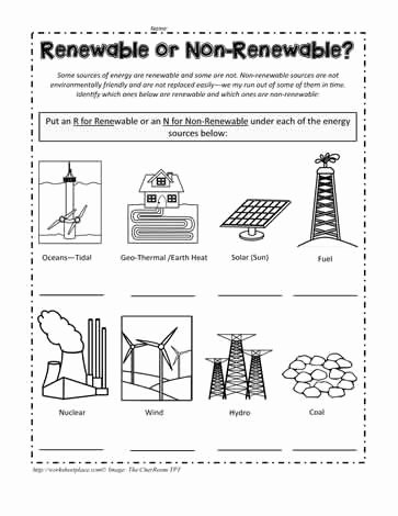 Energy Worksheets for 2nd Grade Ideas Renewable or Non Renewable Energy Worksheets