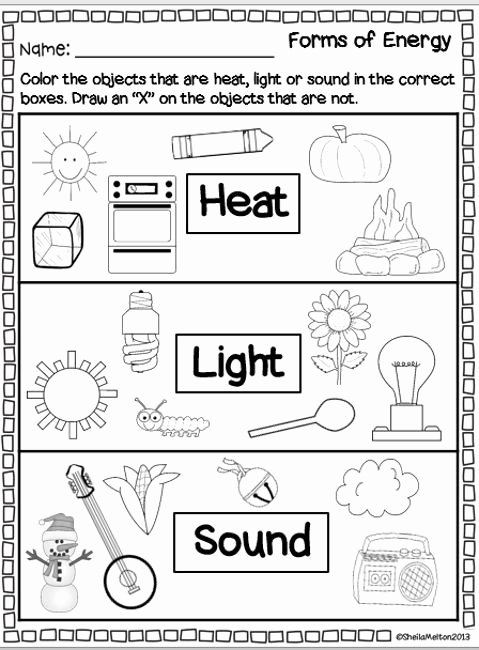 Energy Worksheets for 2nd Grade Kids forms Of Energy Heat Light sound