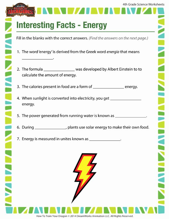 Energy Worksheets for 4th Grade Kids Interesting Facts Energy View – 4th Grade Worksheets – sod