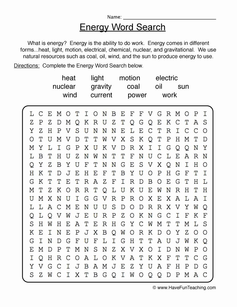 Energy Worksheets for 4th Grade Printable Energy Wordsearch Worksheet