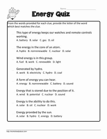 Energy Worksheets for 4th Grade Printable Energy Worksheets