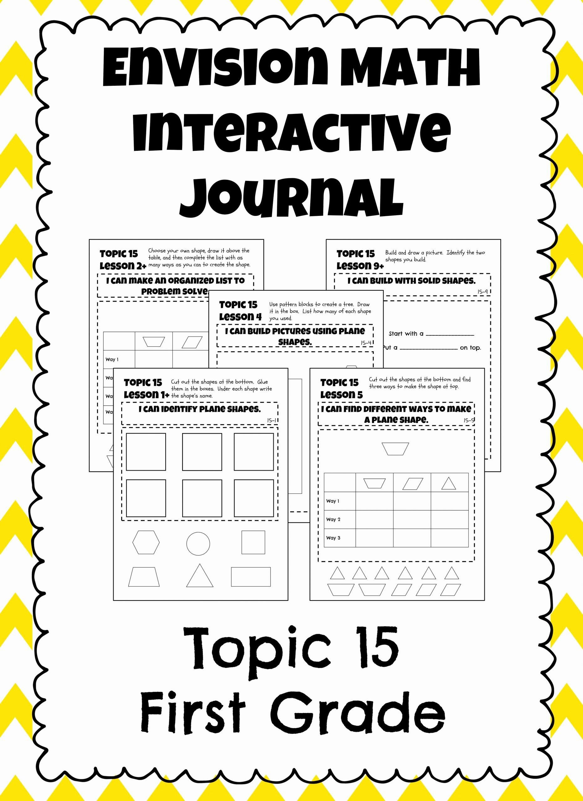 Envision Math 1st Grade Worksheets Ideas Envision Math topic 15 Interactive Journal Notebook
