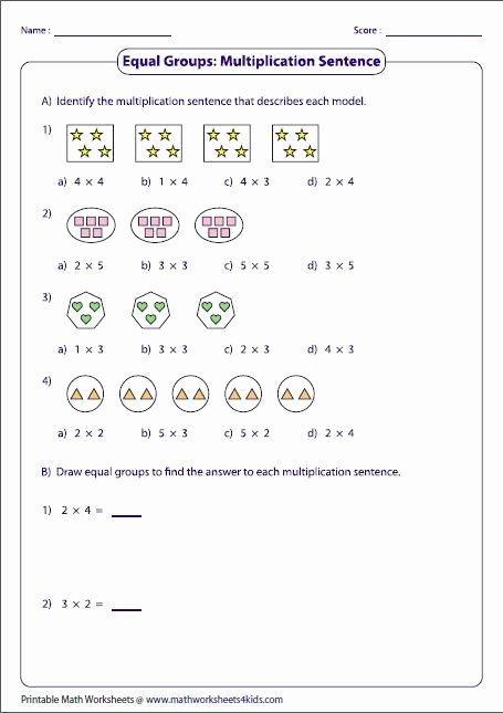 Equal Groups Worksheets 3rd Grade Lovely Equal Groups & Multiplication Sentences