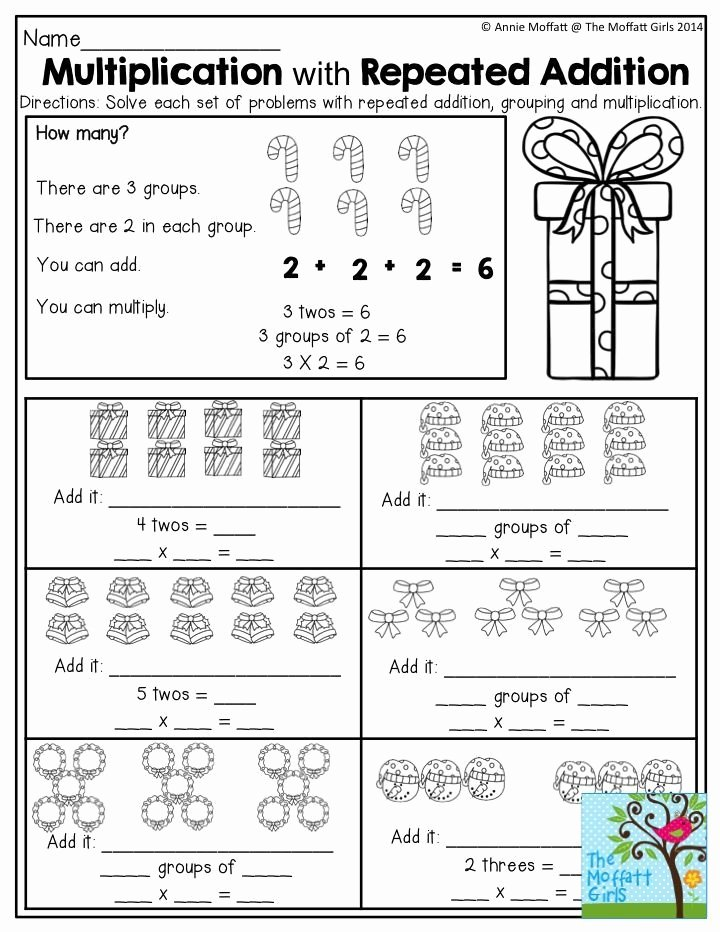 Equal Groups Worksheets 3rd Grade Printable December Fun Filled Learning with No Prep Repeated Addition