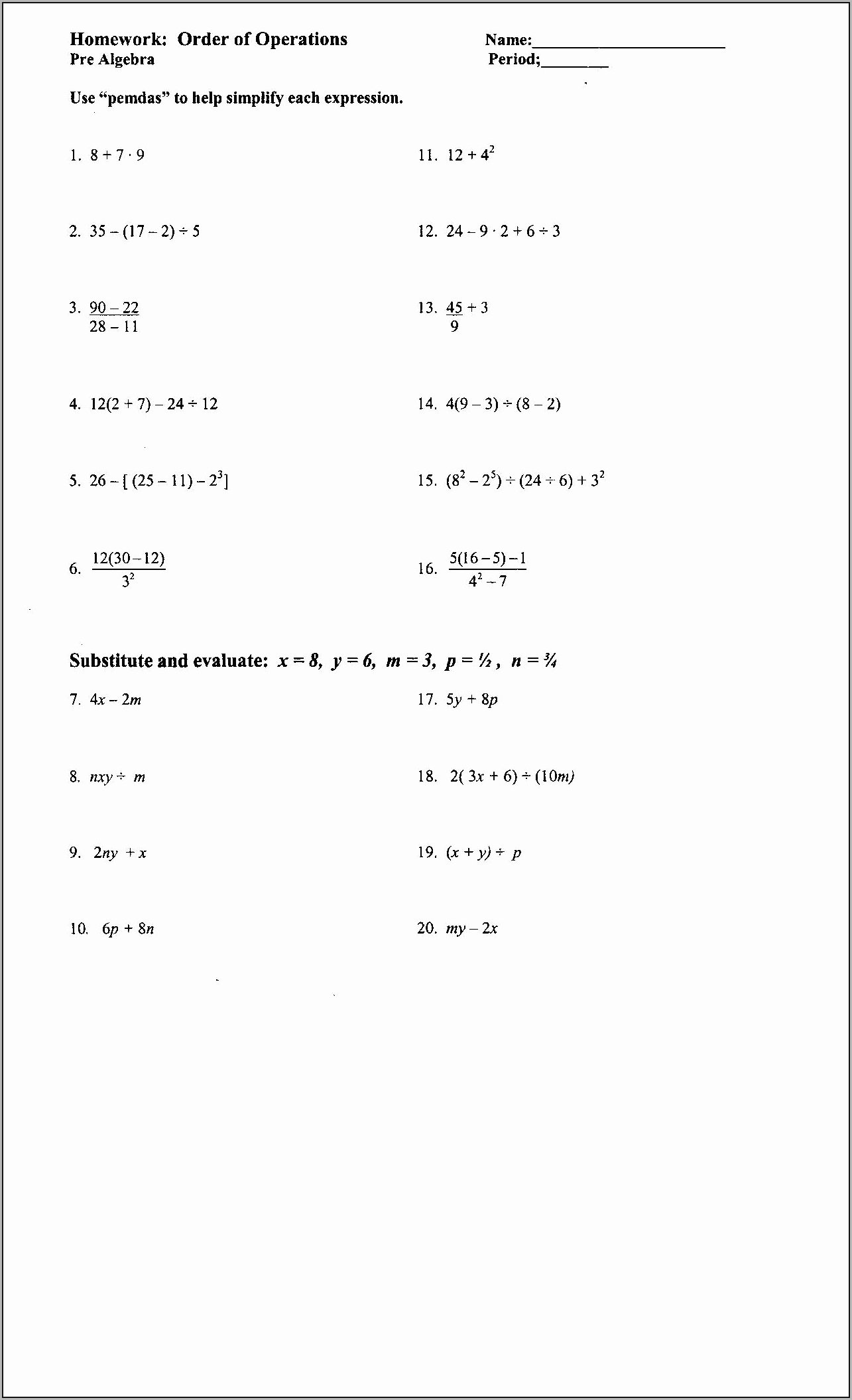 Equivalent Expressions Worksheet 6th Grade Free Equivalent Expressions Worksheet Grade 6