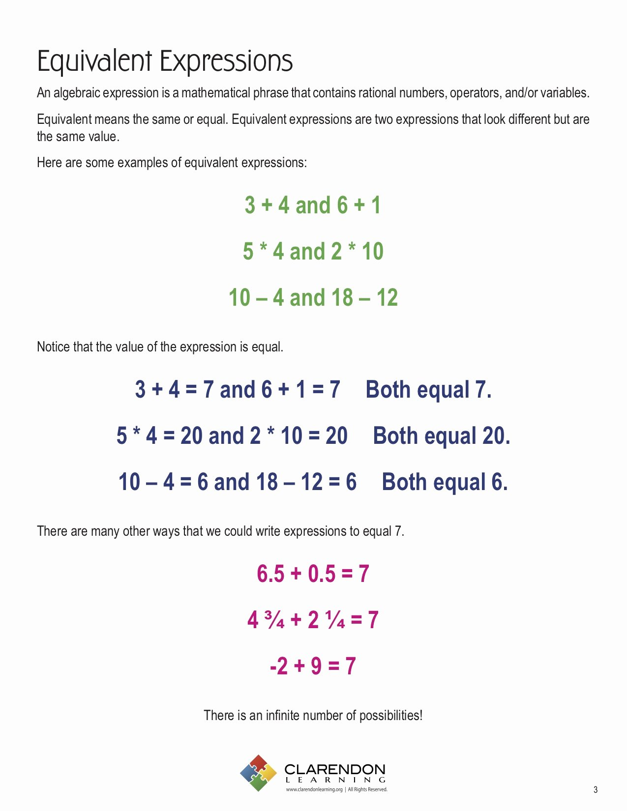 Equivalent Expressions Worksheet 6th Grade Kids Identify Equivalent Expressions Worksheet