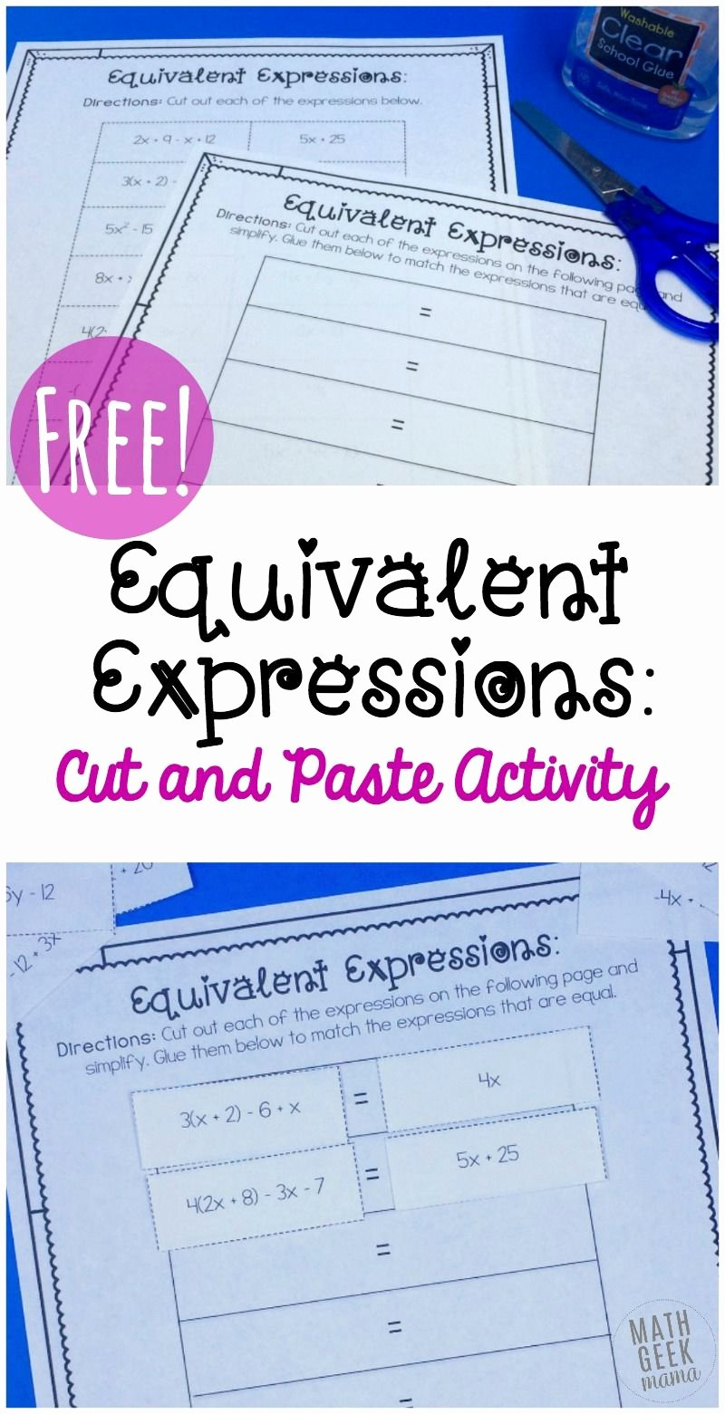 Equivalent Expressions Worksheet 7th Grade Printable Simple Equivalent Expressions Activity Free