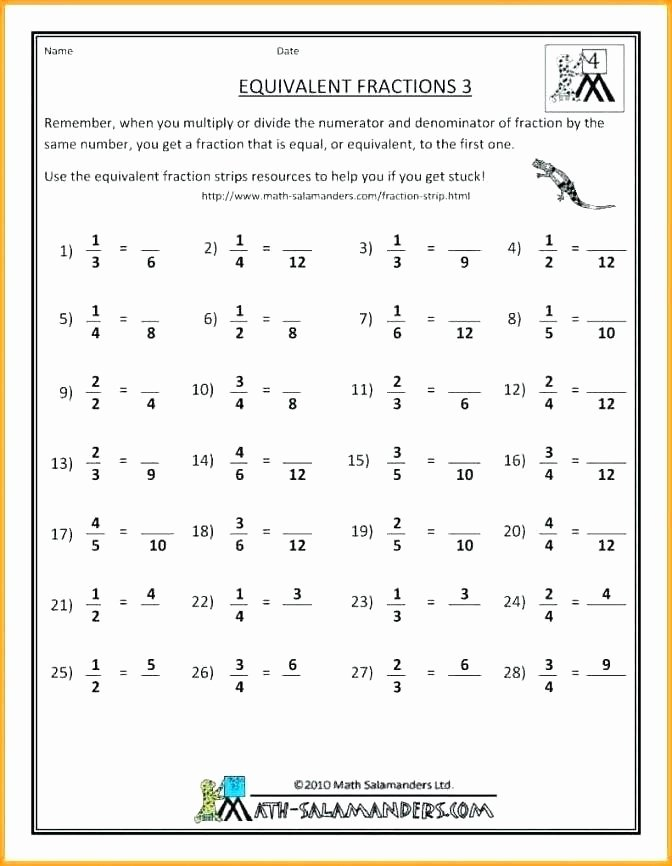 Equivalent Fractions Worksheets 5th Grade Lovely Equivalent Fraction Worksheets 5th Grade 3rd Grade Fractions