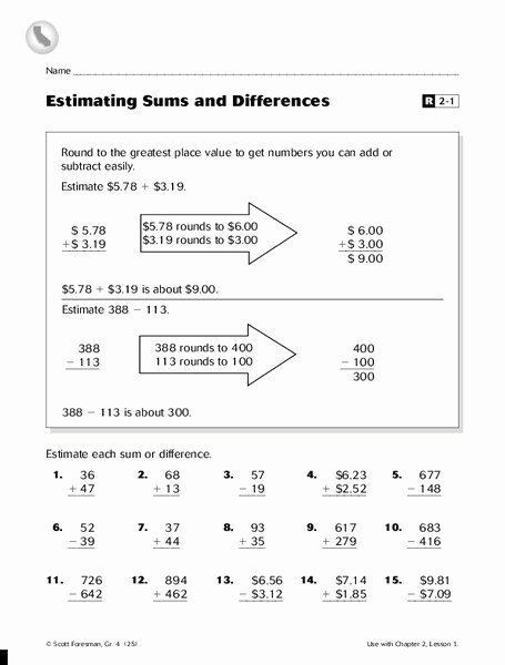 Estimate Sums and Differences Worksheets Fresh Estimating Sums and Differences Worksheet for 4th Grade