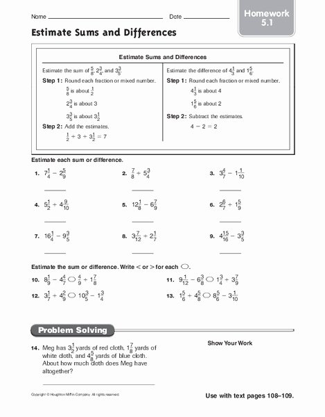 Estimate Sums and Differences Worksheets Inspirational Estimate Sums and Differences Homework Worksheet for 6th