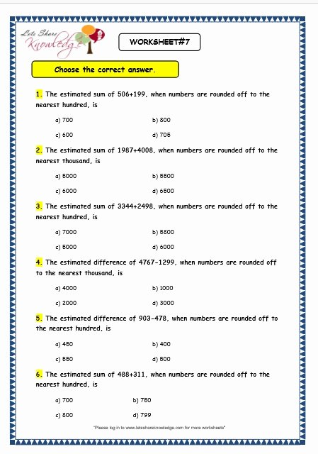 Estimate Sums and Differences Worksheets Lovely Grade 3 Maths Worksheets Subtraction 4 5 Estimation Of 3