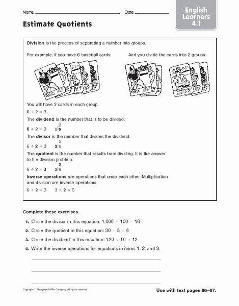 Estimating Quotients Worksheets 5th Grade Free Estimate Quotients Ell Worksheet for 4th 5th Grade