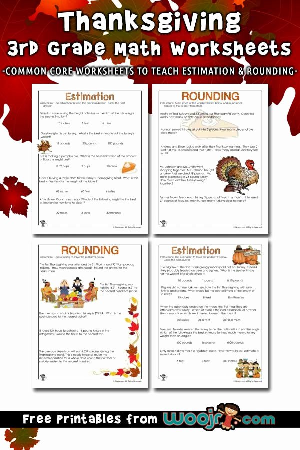 Estimating Word Problems 3rd Grade top Thanksgiving Math Word Problems Estimating and Rounding