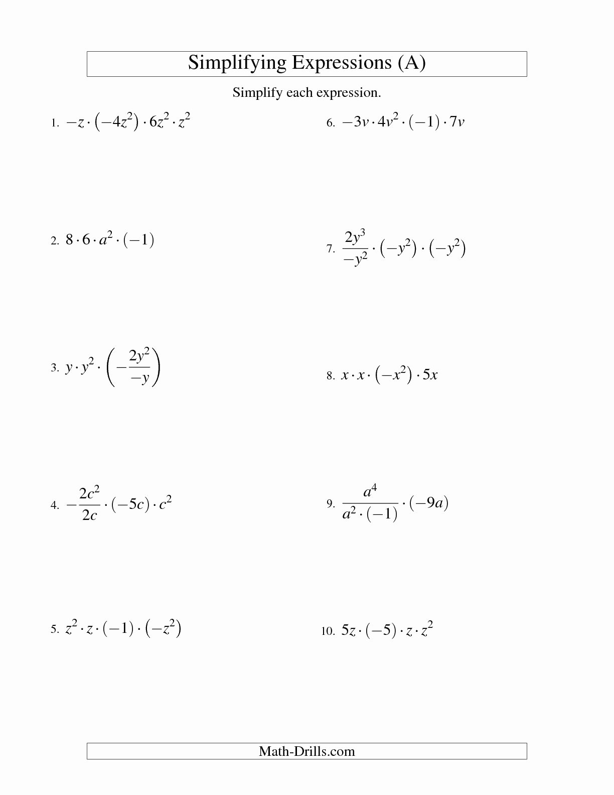 Evaluating Expressions Worksheet 6th Grade Best Of Algebraic Expressions Worksheets
