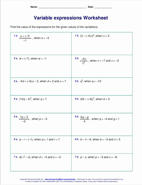 Evaluating Expressions Worksheet 6th Grade Fresh 8 Algebraic Expression Worksheet Grade 8