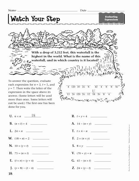 Evaluating Expressions Worksheet 6th Grade Fresh Pre Algebra Worksheets
