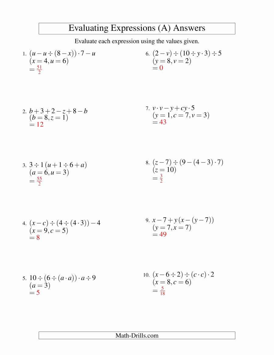 Evaluating Expressions Worksheet 6th Grade Inspirational Evaluate Each Expression Worksheet Promotiontablecovers