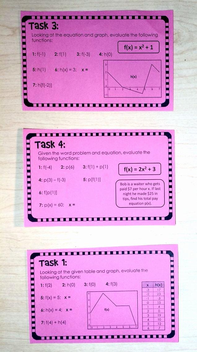 Evaluating Functions Worksheet Algebra 1 Inspirational Evaluating Functions Task Cards Tables Graphs Equations