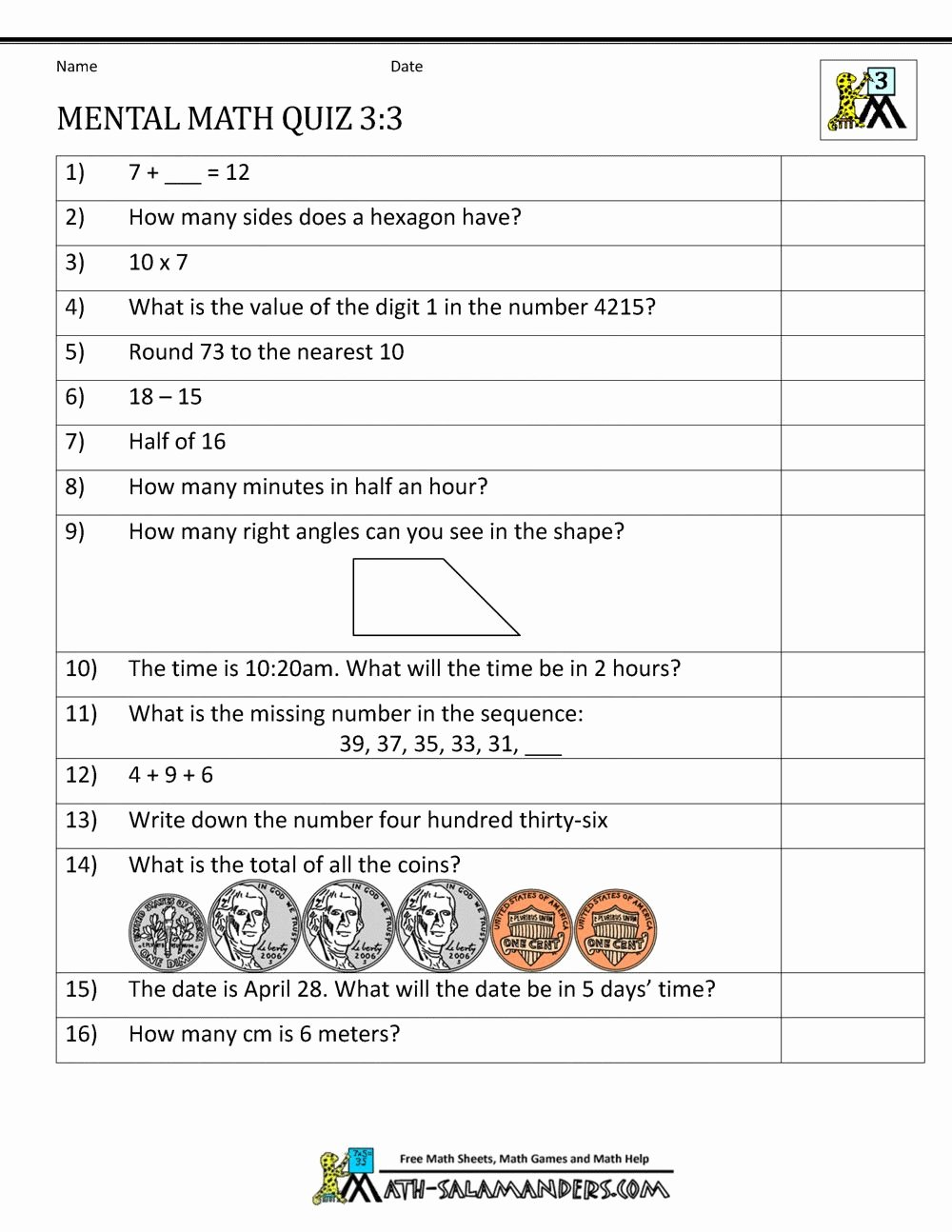 Everyday Mathematics Grade 5 Worksheets New 5 Mental Maths Worksheets for Class 3 2 In 2020