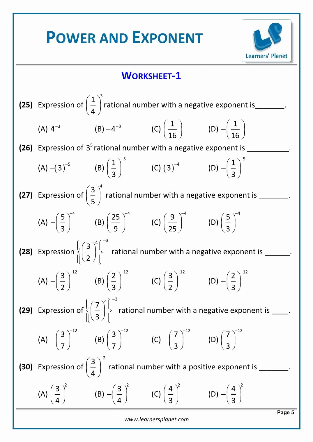 Expanded form with Exponents Worksheet Lovely 8th Math Cbse Exponents and Powers Worksheets Grade Free