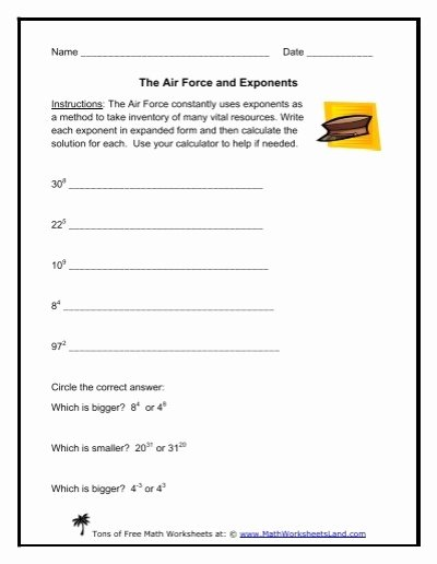 Expanded form with Exponents Worksheet Lovely the Air force and Exponents Math Worksheets Land