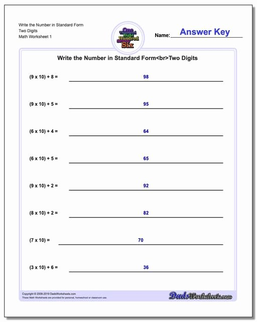 Expanded form with Exponents Worksheet Printable Standard Expanded and Word form